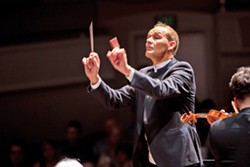 FEELING THE MUSIC Conductor Andrew Sewell leads the SLO Symphony at his audition/performance concert at the Cal Poly Performing Arts Center in October 2016. - PHOTO COURTESY OF SLO SYMPHONY