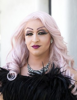 GLITZ AND GLAM The transformation from CJ Gormley to Rosé Aldé includes sparkly high heels, a bright pink wig, more than an hour of putting on makeup, and the perfect little black dress. - PHOTO BY JAYSON MELLOM
