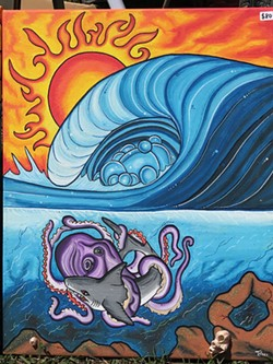 UNDERSEA BATTLE An octopus and shark go to battle in a painting by Tyler Carmos, complete with a real barnacle garnish.