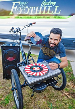 SLO SOULCYCLE Local DJ Gil Braga is asking for support from friends and neighbors to fund a mobile DJ tricycle aimed at creating a sense of community in SLO's underused public spaces. - PHOTO BY JAYSON MELLOM