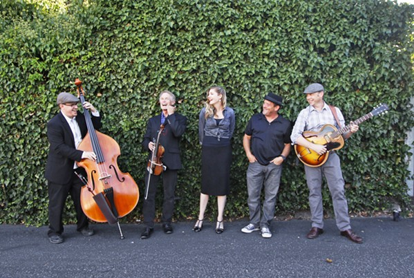 CLASS ACT The Tipsy Gypsies—(left to right) Brian Lanzone, Allan Dick, Hilary Langdon, Daryl VanDruff, and Forrestt Williams—play an album release party for Waiting, on July 29, at Luna Red. - PHOTO COURTESY OF THE TIPSY GYPSIES