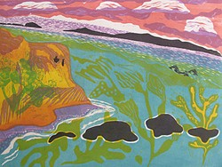 NATURAL BEAUTY Pieces like woodcut Channel Islands evoke artist Sara Woodburn's abstract and folksy take on the landscape. - IMAGE COURTESY OF SARA WOODBURN