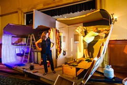 DIY Cynthia Anthony (left) and Dana Shaheen (right), of Wine Country Theatre, get the set ready for the play, Annapurna, at the Park Street Ballroom in Paso. - PHOTO BY JAYSON MELLOM