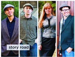 TRADITIONALISTS Story Road—(left to right) John Weed, Ryan Davidson, Colleen Raney, and Stuart Mason—bring their traditional Irish, Scottish, and American Southern sounds to Los Osos' Red Barn on Oct. 7. - PHOTO COURTESY OF STORY ROAD