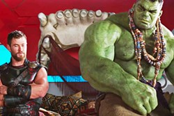 TWO HOT-HEADED FOOLS Thor (Chris Hemsworth) and The Hulk (voiced by Mark Ruffalo) commiserate after their gladiatorial battle and try to work out their differences. - PHOTO COURTESY OF MARVEL ENTERTAINMENT