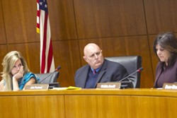 CHANGING OF THE GUARD Since 1st District SLO County Supervisor John Peschong took the board chair position in 2017, he and supervisors Lynn Compton (left) and Debbie Arnold (right) have led the county in a new direction. - FILE PHOTO BY JAYSON MELLOM