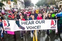 PEOPLE POWER 2017 was a banner year for protests and rallies, with the SLO Women's March in January drawing between 7,000 and 10,000 people. - FILE PHOTO BY JAYSON MELLOM
