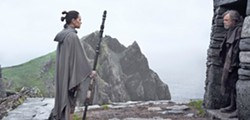 THE MASTER AND THE STUDENT A very reluctant Luke Skywalker (Mark Hamill) finally agrees to teach Rey (Daisy Ridley) the ways of the Jedi. - PHOTO COURTESY OF WALT DISNEY PICTURES