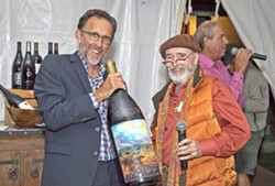 LOCAL GUYS, LOCAL WINE Brian Talley and Archie McLaren stop for a photo at the Talley Vineyard Dinner at the 2017 Central Coast Wine Classic. - PHOTO COURTESY OF BOB CANEPA