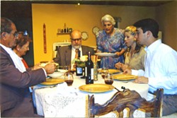 ITALIAN MOMMA Nancy Green serves dinner as the mother of a New Jersey family in the SLO Little Theatre's rendition of Over the River. - PHOTO COURTESY OF NANCY GREEN
