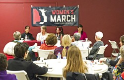 BREAKING BARRIERS In 2018, Women's March SLO is looking to get out the vote for the November elections and help get more local women to run for elected office. They hope events like this one, featuring a panel of local women elected officials, will help them achieve this goal. - FILE PHOTO BY JAYSON MELLOM