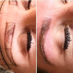 FILLING IN If shaping and filling in your own brows seems too overwhelming, Wink Lash + Brow Bar offers micro-blading, which lines and fills in the eyebrows with a semi-permanent tattoo. - PHOTO COURTESY OF WINK LASH + BROW BAR