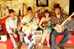 HIPSTER MEETS OLD TIME Sausage Grinder, a terrific old-time and country blues string band, plays the Red Barn Community Music Series show on Feb. 3. - PHOTO COURTESY OF SAUSAGE GRINDER