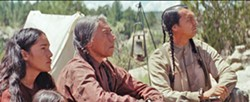 PROUD PEOPLE Elk Woman (Q'orinaka Kilcher, left) Chief Yellow Hawk (Wes Studi, center), and Black Hawk (Adam Beach, right) eventually form an alliance with their U.S. Army captors as they traverse lands filled with murderous Comanche warriors and ruthless fur trappers. - PHOTO COURTESY OF GRISBI PRODUCTIONS