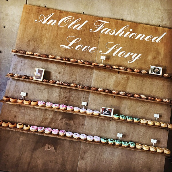CREATIVE DISPLAYS Twisted & Glazed doughnut shop in Paso Robles brings more to weddings than just doughnuts. It can also help design creative doughnut displays like shelves or wall hooks. - PHOTO COURTESY OF SONDRA WILLIAMS