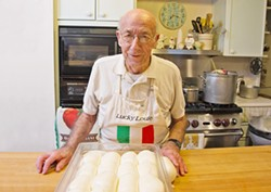 BE HAPPY WITH WHAT YOU HAVE Positive thinker Dr. Lou Tedone, 92, still gets up every morning at 4 a.m. to make amazing mozzarella for his daughter's Shell Beach deli, DePalo & Sons. - PHOTO COURTESY OF SKY BERGMAN