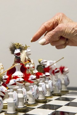 REACHING OUTSIDE Paso Robles artist Hellie Blythe is not your standard landscape painting Central Coast artist. Making pistachio shell tableaus such as this chess set is one of her preferred creative outlets. - PHOTO BY JAYSON MELLOM