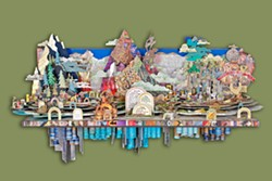 ONE MAN'S TRASH Salvaging every little scrap of waste from a road trip from Morro Bay to Michigan and back, artist Philip Carey put together this stunning visual representation of the journey, One day I put my artwork in the trailer and drove 2,573 miles to a gallery in Michigan, set up the show, and then went home. - PHOTO COURTESY OF PHILIP CAREY