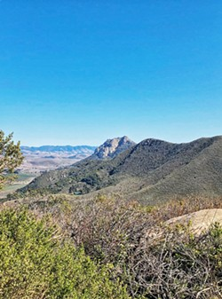 BACK TOWARD SLO The Nine Morros (also called the Nine Sisters) begin in Edna Valley at Islay Hill and move out to Morro Rock. Black Hill is the eighth, and like all the sisters is a volcanic plug covered by pillow rock. - PHOTO BY GLEN STARKEY