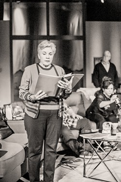 PUTTING IT OUT THERE Polly (Mary-Ann Maloof, foreground) reads her daughter's soon to be published book that explores a family tragedy while her sister Silda (Cynthia Anthony) and husband Lyman (John Laird) look on. - PHOTO COURTESY OF WINE COUNTRY THEATRE