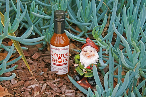 SMOKIN' No, the gnomes didn't really make it. Actually, Gnome Sauce creator Jane Hian can take credit for crafting the first smoked hot sauce on the Central Coast. - PHOTO BY HAYLEY THOMAS CAIN