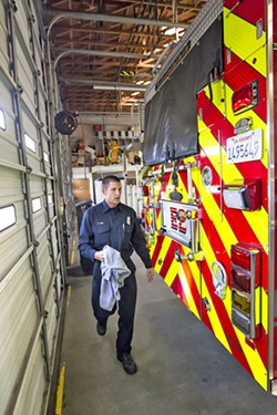 A GUARANTEE Five Cities Fire Authority Chief Lieberman addressed his staffing issue with its service communities Grover Beach, Arroyo Grande, and Oceano at a March 19 meeting. Pictured, Five Cities Fire Authority reserve firefighter Jeff Lane. - FILE PHOTO BY JAYSON MELLOM