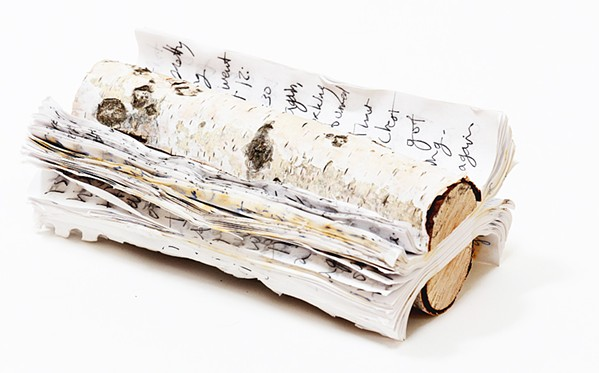 SOURCE MATERIAL Artist Marcia Harvey liked the idea of her journal pages combining with wood to make an art piece, like Birch Journal, since they both started out as trees. - PHOTO COURTESY OF MARCIA HARVEY