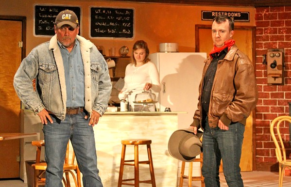LOOKING FOR TROUBLE Cowboy Bo (Sean McCallon, right) with buddy Virgil (Frank Moe) is after a girl who just doesn't want to marry him in Bus Stop.  - PHOTO COURTESY OF THE CAMBRIA CENTER FOR THE ARTS