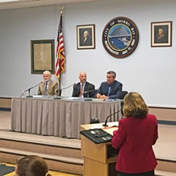 THREE-MAN RACE Incumbent SLO County 2nd District Supervisor Bruce Gibson (left), attorney Patrick Sparks (middle), and Morro Bay business owner Jeff Eckles (right) answered voter questions at a candidate forum in the Morro Bay Vets Hall on April 20. - PHOTO BY PETER JOHNSON