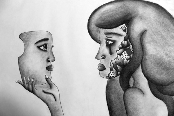 A BRAVE FACE Masks, a charcoal drawing by Alexandra Kelso, grapples with the feeling of trying to act like everything is fine while also struggling with mental illness. - IMAGE COURTESY OF ALEXANDRA KELSO