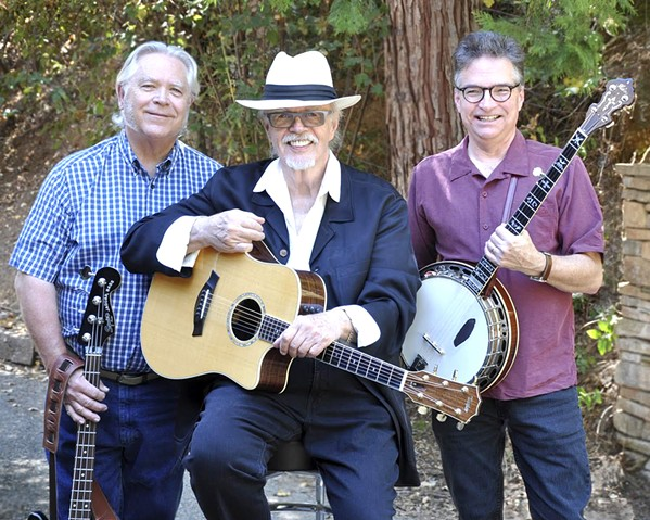 THREE LEGENDS! Americana, roots, bluegrass, and beyond trio Dan Crary, Bill Evans, and Wally Barnick play Painted Sky Studios on May 31 and Castoro Cellars on June 1. - PHOTO COURTESY OF CRARY EVANS, AND BARNICK