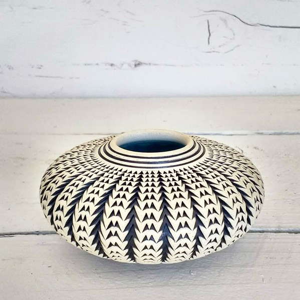 GEOMETRIC For inspiration for pieces like Squash Vessel, Standhardt often looks to spectral geometry and patterns found in nature, like in the succulent plants in his yard. - PHOTO COURTESY OF KENNY STANDHARDT