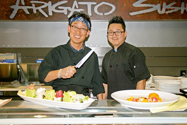 TEAM ARIGATO From left, Arigato Sushi owner Sang Park pictured with Executive Chef Sky Rah. - PHOTO BY HAYLEY THOMAS CAIN