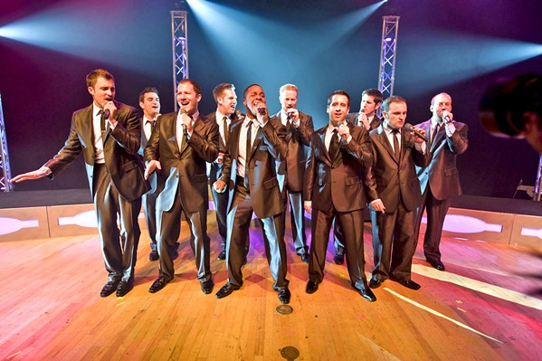 VOX DELUXE Male a cappella group Straight No Chaser performs at Vina Robles Amphitheatre on July 11. - PHOTO COURTESY OF STRAIGHT NO CHASER