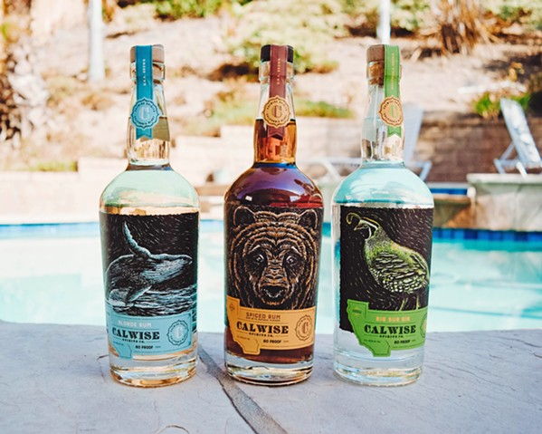 LIQUID CALI From left to right, Calwise Spirits blonde rum, spiced rum, and Big Sur gin. - PHOTO COURTESY OF CALWISE