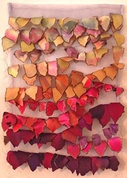 PASSING THROUGH Kate Froman's silk piece, Butterfly Rest Stop, is suggestive of the colors and shapes of butterfly wings and speaks to the need for more natural, open spaces for animal habitats. - IMAGE COURTESY OF KATE FROMAN