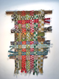 UPCYCLED Rather than buy new materials for art projects, SLO artist M'Lou Mayo is trying to use what she already has, like this trove of old zippers that turned into the piece Zipper di Duda. - IMAGE COURTESY OF M'LOU MAYO