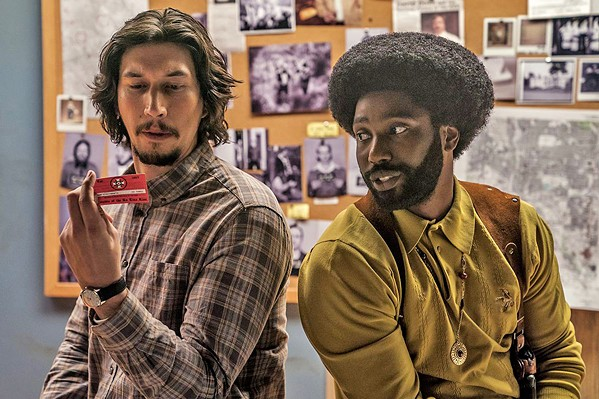UNDERCOVER BROTHER Flip Zimmerman (Adam Driver, left) and Ron Stallworth (John David Washington) star in auteur Spike Lee's BlackKklansman, about a black police officer and his white counterpart who infiltrate the local KKK chapter. - PHOTO COURTESY OF 40 ACRES & A MULE FILMWORKS