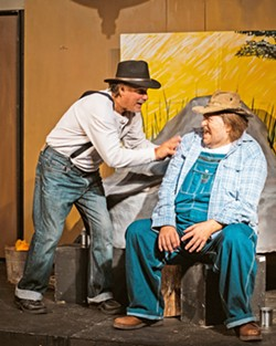 WORLD WEARY Frank Moe (left) and Rick Bruce (right) play George and Lenny, respectively, the two main characters in By the Sea Productions' take on the John Steinbeck classic, Of Mice and Men. - PHOTO COURTESY OF IAIN MACADAM