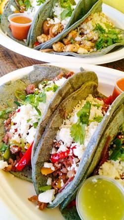 COLORFUL CRAVING The arcoiris tacos at Frutiland La Casa del Sabor in Arroyo Grande are almost too pretty to eat. - PHOTO BY CALEB WISEBLOOD