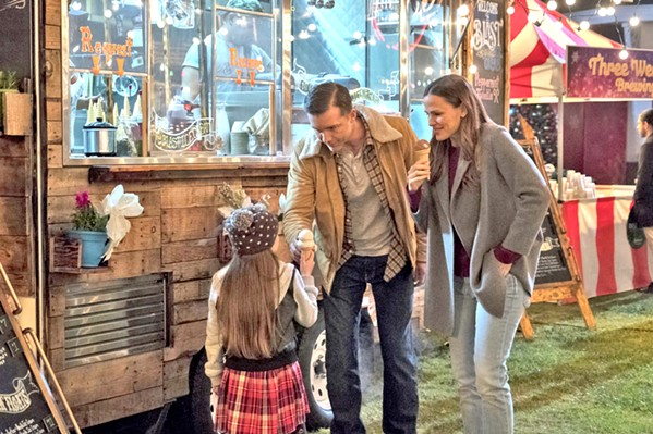 BEFORE THE STORM Riley North (Jennifer Garner, right) spends one last moment with her family—husband Chris (Jeff Hephner) and daughter Carly (Cailey Fleming)—before they're murdered, starting her on a path to vengeance. - PHOTO COURTESY OF LAKESHORE ENTERTAINMENT