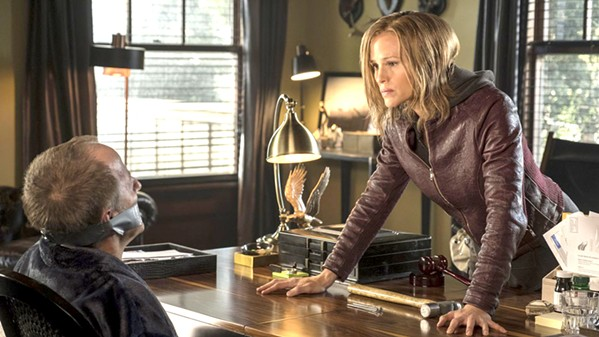 BAD JUDGE After getting no justice from the system, including dirty Judge Stevens (Jeff Harlan, left), Riley North (Jennifer Garner) takes matters into her own bloodied hands. - PHOTO COURTESY OF LAKESHORE ENTERTAINMENT