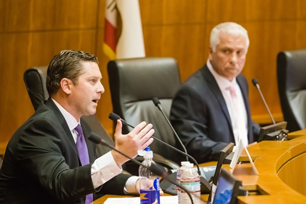 RACE FOR THE 35TH DISTRICT Incumbent Assemblyman Jordan Cunningham and his challenger, Bill Ostrander, shared their views on education, transportation, immigration, and other issues at a Sept. 24 forum. - PHOTO BY JAYSON MELLOM