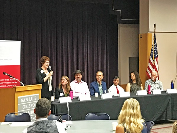 PICK TWO City growth, downtown development, and neighborhood engagement emerged as key themes in a forum for the seven SLO City Council candidates in the SLO Library on Sept. 24. The candidates are vying for two open seats this November. - PHOTO BY PETER JOHNSON