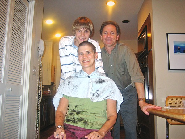 FAMILY FIGHT My family decided to turn the disturbing reality of my mom's hair loss from chemotherapy into a light-hearted group haircut. Pictured are my dad, Bill; my mom, Terri; and me in early 2006. - PHOTO COURTESY OF TERRI LOBDELL