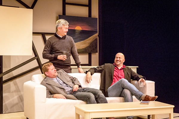 IN DISPUTE Old disputes and hidden hurts are unearthed when friends Yvan (Timothy J. Cox), Serge (Lawrence Lesher), and Marc (Travis Mitchell) fight over whether or not an all-white painting qualifies as art. - PHOTO COURTESY OF THE SLO REPERTORY THEATRE