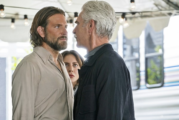 ESTRANGEMENT Jackson Maine (Bradley Cooper) squares off against his brother and manager, Bobby (Sam Elliott, right), as Ally (Lady Gaga) looks on. - PHOTO COURTESY OF WARNER BROS. PICTURES