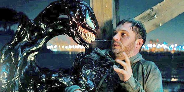 BESTIES! When a journalist (Tom Hardy) bonds with an alien symbiote, they discover they're stronger together, in the Marvel anti-hero flick Venom. - PHOTO COURTESY OF COLUMBIA PICTURE CORP.
