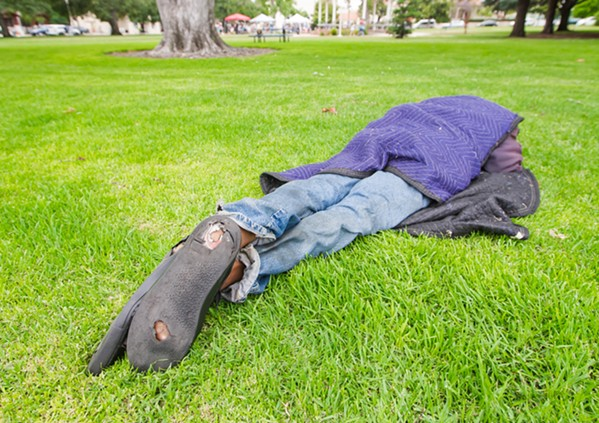 A PLACE TO SLEEP SLO and other cities will likely review their ordinances after a recent federal appellate court ruled that punishing or arresting homeless individuals for sleeping in public places when there is no alternative was unconstitutional. - PHOTO BY JAYSON MELLOM