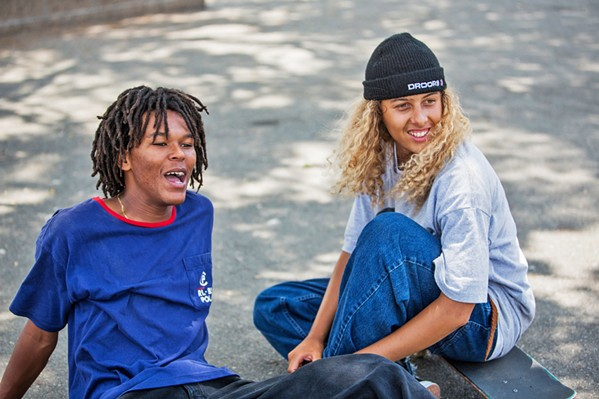 ROLE MODELS? Skateboarders Ray (Na-Kel Smith, left) and Fuckshit (Olan Prenatt) become competing role models for a troubled 13-year-old, in Mid90s. - PHOTO COURTESY OF A24